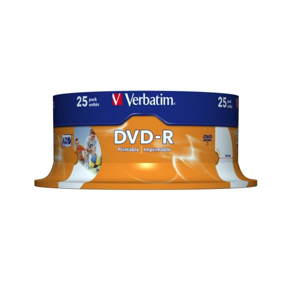 DYSK VERBATIM DVD-R 4.7 GB 16X PRINTABLE WIDE CAKE BOX 25